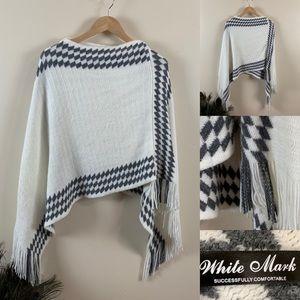White Mark Sweater Bunny Soft Neveh Knit Poncho 🐰